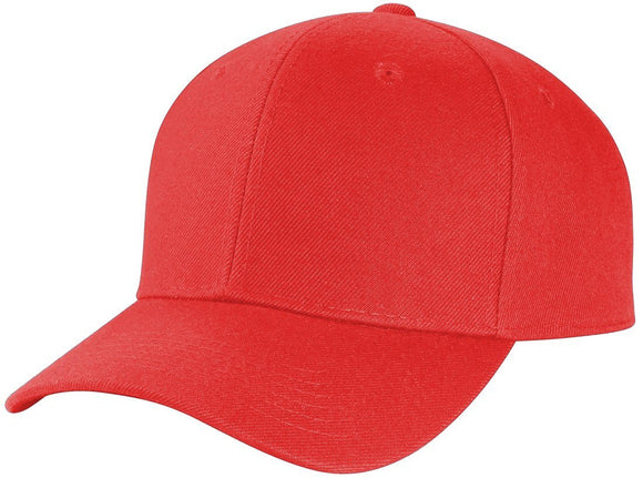 Y4364- 6 Panel Structured 100% Polyester Fitted Baseball Cap (RED)