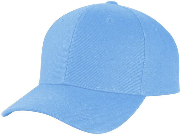 Y4364- 6 Panel Structured 100% Polyester Fitted Baseball Cap (SKY)