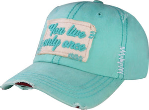 T13LIV01- Wholesale YOU ONLY LIVE ONCE Vintage Washed Cap