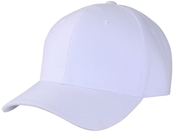 Y4364- 6 Panel Structured 100% Polyester Fitted Baseball Cap (WHT)
