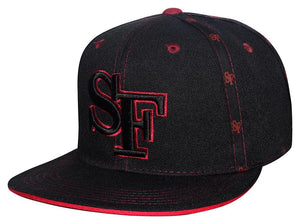 "N10ISF03- Structured Cotton San Francisco Short Name With ""SF"" Logo Designed And Cotton Snapback (BLK/BUR)"