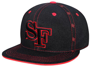 "N10ISF03- Structured Cotton San Francisco Short Name With ""SF"" Logo Designed And Cotton Snapback (BLK/RED)"