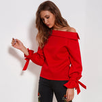 Long Sleeve Off Shoulder Streetwear with Bow Casual Blouse