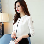 Long Sleeved Chiffon Black Trim Blouse