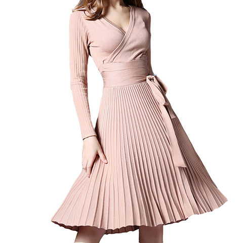 V-Neck Bow Waist Fold Pleated Knit Knee Length Dress