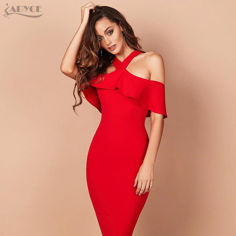 Off Shoulder Ruffles Bandage Dress