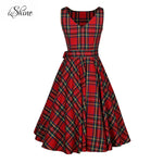 Retro Vintage O-Neck A-line Sleeveless Plaid Bow Dress
