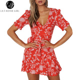 V-Neck Ruffles Boho Style Mini Dress