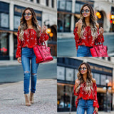 Off Shoulder Flare Sleeve Floral Blouse