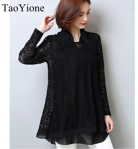 Chiffon Lace Long Sleeve Blouse
