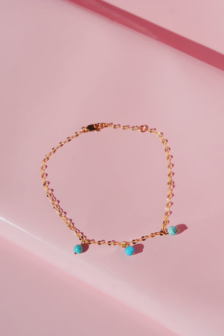 JARDIN Gold Filled Anklet with Turquoise Beads