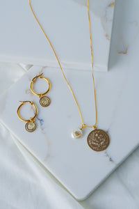 ANTALYA Gold Coin Pearl Evil Eye Charm Necklace