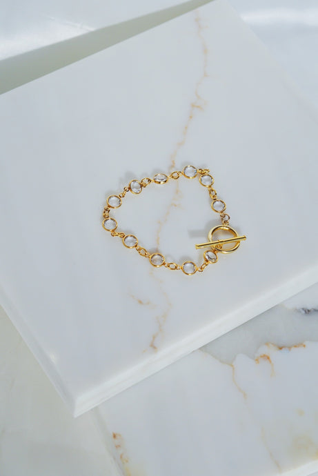 PARIS Crystal Chain Bracelet with Toggle Gold