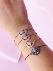 CHANDA Crescent Moon Star Slider Bracelet Rose Gold