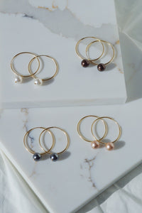 CLARK Pearl Gold Filled Hoop Earrings-Blush Pink