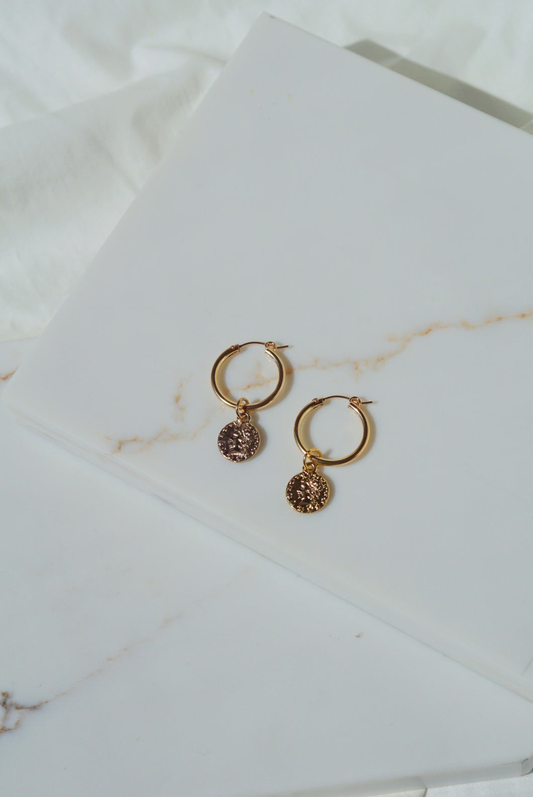 VILLA Gold Filled Coin Hoop Earrings