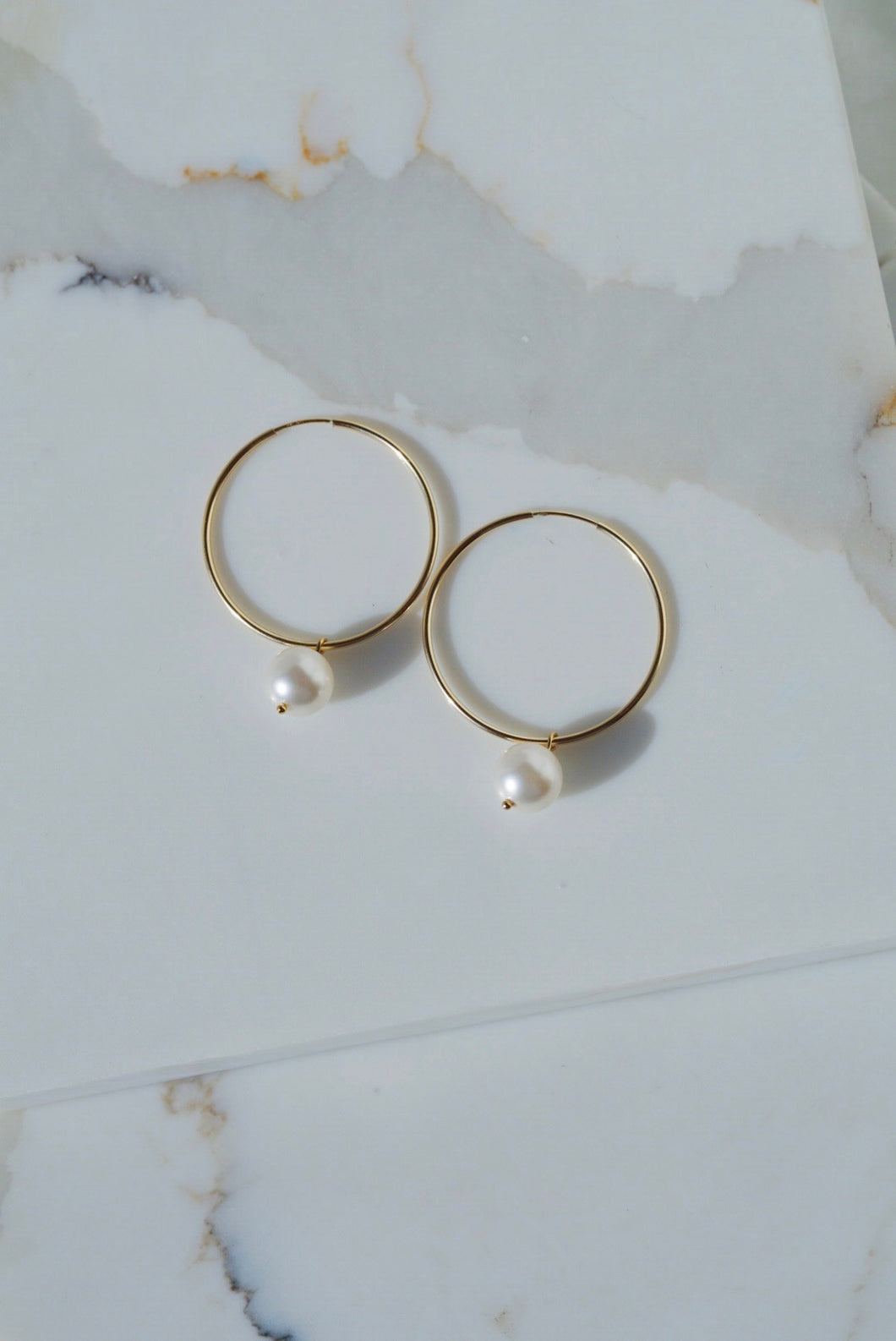 CLARK Pearl Gold Filled Hoop Earrings- White