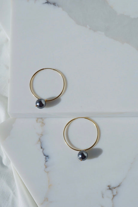 CLARK Pearl Gold Filled Hoop Earrings-Tahitian Black