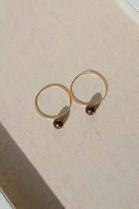 CLARK Pearl Gold Filled Hoop Earrings-Chocolate Brown