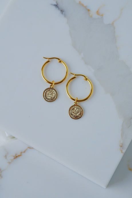 ANTALYA Coin Hoop Earrings Gold