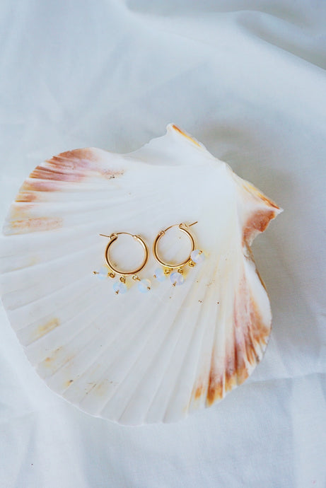 NEWPORT Gold Filled Hoop Earrings- Opalite