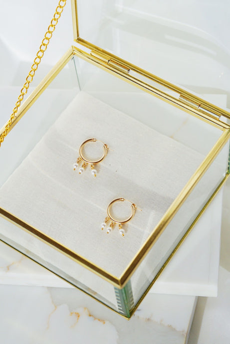 NEWPORT Gold Filled Hoop Earrings- Pearl
