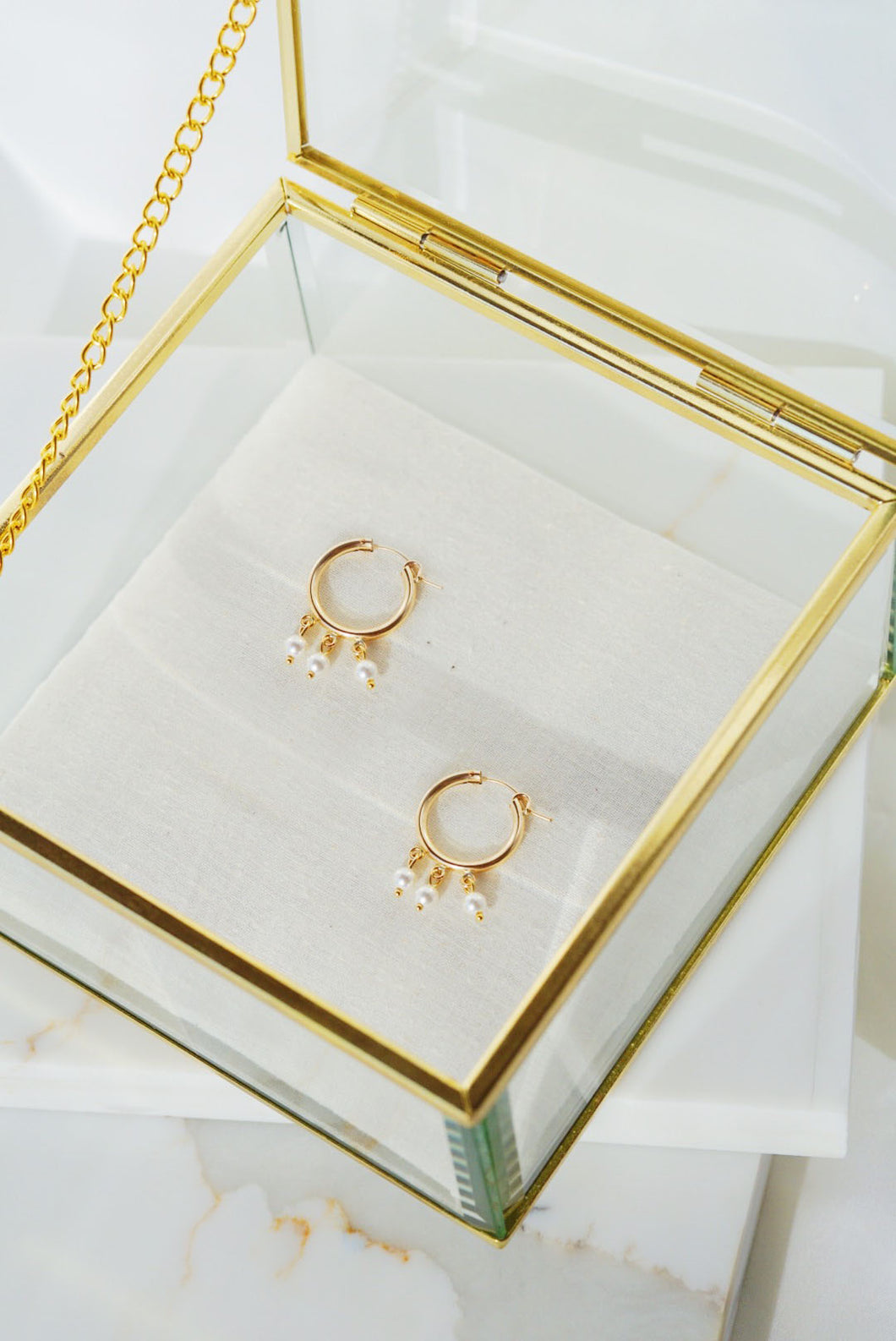 NEWPORT Gold Filled Hoop Earrings- Small Pearl