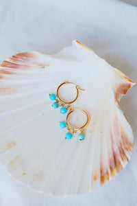 NEWPORT Gold Filled Hoop Earrings Turquoise