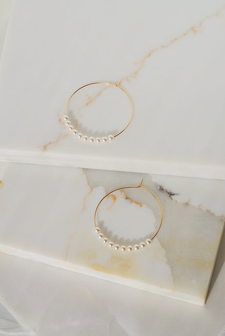 OJAI Beaded Gold Filled Hoop Earrings- White