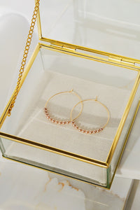 OJAI Beaded Gold Filled Hoop Earrings- Blush