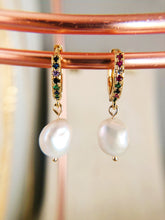 SASHA Rainbow Hoop Earrings with Pearl