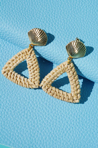 RIO Seashell Rattan Triangle Earrings