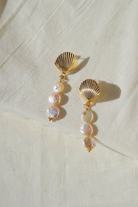 PARADISE Seashell Freshwater Pearl Drop Earrings