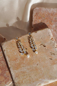 LAUREL Crystal & Pearl Vine Earrings