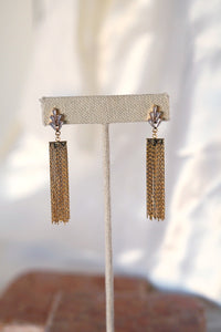 GATSBY Crystal & Gold Tassel Statement Earring