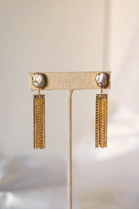 CLAIRE Pearl & Gold Tassel Statement Earring