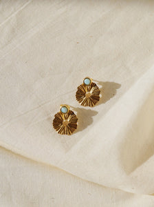 CASPIAN Larimar Gold Plated Ear Jacket Earring