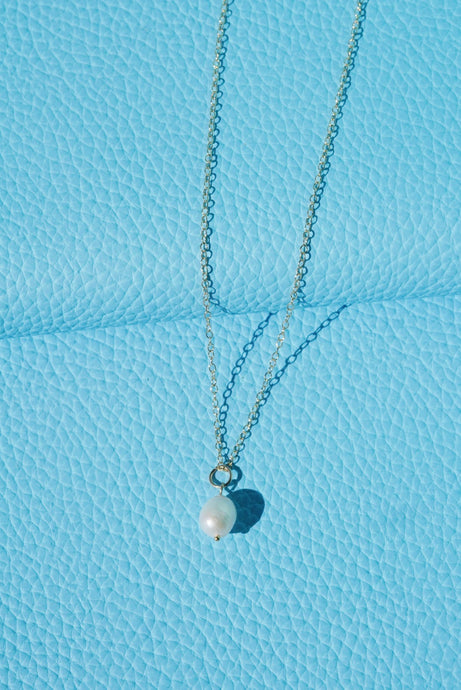HARP Pearl Pendant Gold Filled Necklace White