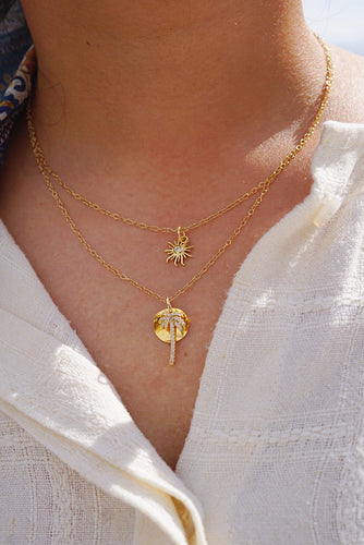 HELIO Sun Charm Gold Filled Necklace