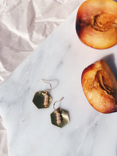 SEFTALI Peach Moonstone Earrings