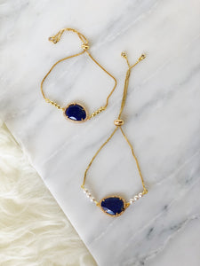 JOIE Crystal Slider Bracelet Dark Blue