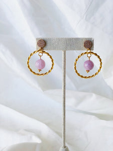 VERA Pave Hoop Earrings Kunzite