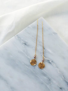 ELENA Pearl & Gold Filled Threader Earrings