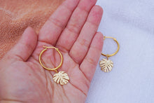 CALYPSO Palm Leaf Hoop Earrings Gold