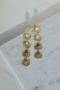 CLEODORA Golden Shell Filigree Drop Earrings