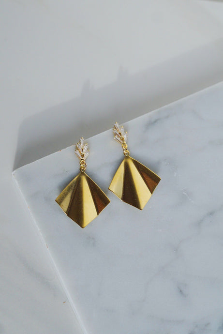 ZEISEL Pleated Brass Statement Earrings