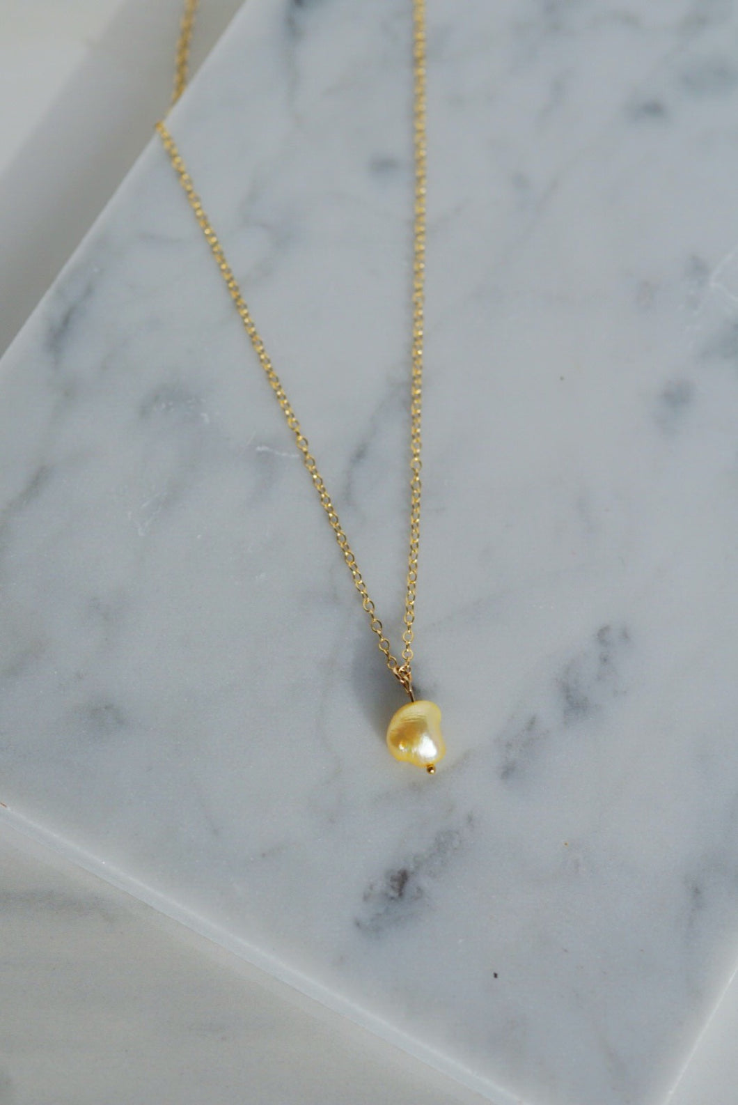 HARP Pearl Pendant Gold Filled Necklace Lemon