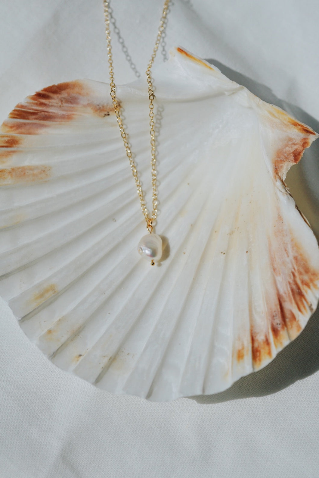 HARP Pearl Pendant Gold Filled Necklace
