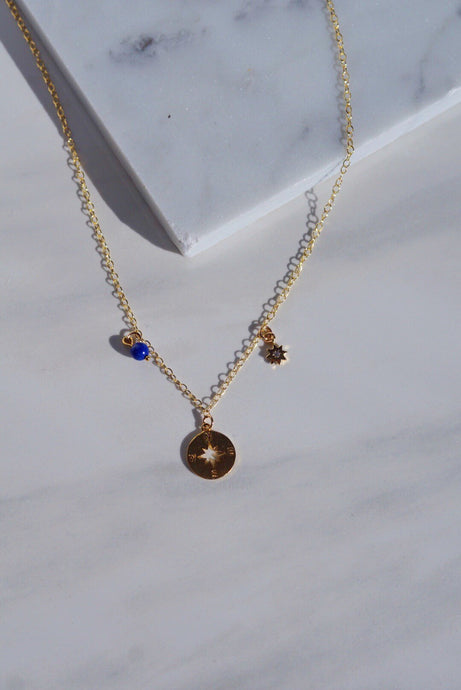 ATLAS Gold Filled Compass Charm Necklace Lapis Lazuli