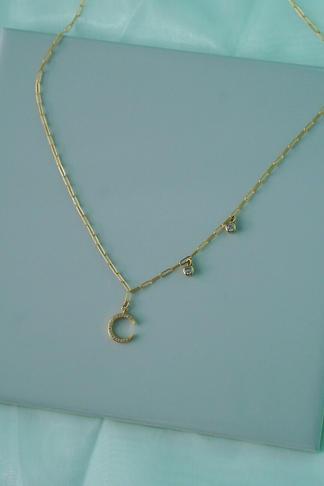 AJMI Crescent Moon & Star Trail Gold Charm Necklace